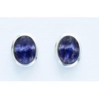 Small Oval Blue John Stud Earrings