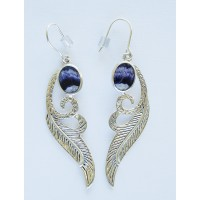 Blue John Feather design drop Earrings